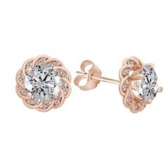 White Sapphire Round 18K Rose Gold Over Sterling Silver Push Back Stud Earrings by JewelryHub on Opensky