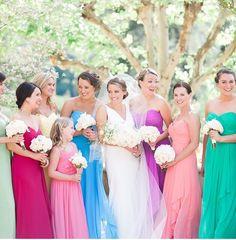 Rainbow bridesmaids dresses. Dream complete Rainbow Bridesmaid Dresses, Hair Makeup, Wedding Dresses, Flowers, Table, Fashion, Bride Dresses, Moda, Bridal Gowns