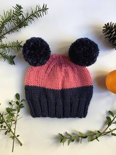 Hand knitted chunky toddler beanie  double pom pom beanie