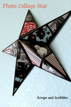 photos and scrapbooking paper on a star with modgepodge
