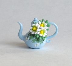 Miniature Charming Daisy Cluster Teapot OOAK by C. Rohal $24,50