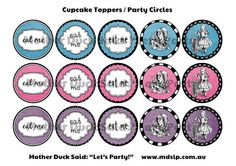 Alice In Wonderland Party Printables Personalized Mad Hatter's Tea Party Party Circles Cupcake Toppers