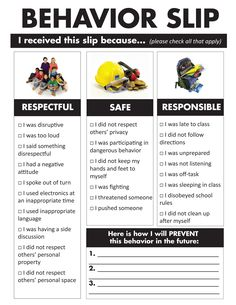 A better way to deal with disruptive students in middle and high school. Print these out on quarter- or half- sheets and hand them to students who are off-task or disruptive. Or laminate a few and have dry- or wet-erase markers on hand. A behavior slip forces the student to think about their actions and how they can prevent them in the future, without taking up extra class time for discipline! Students are less likely to act up if they know they'll have to fill one of these out every time.