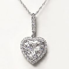 Heart with Halo of Rounds CZ Pendant... This romantic pendant features a 2.0 carat heart center stone with an elegant halo of pave set round cubic zirconia stones. Approximately 2.14 carats total weight, available in 14K white gold or 14K yellow gold. Model: 4133H2, $425.00