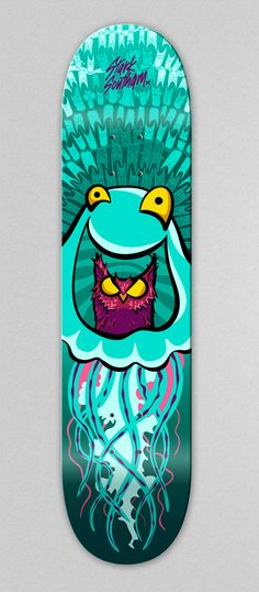 Skateboard illustration, Happy Jellyfish eating an Owl. by Andrea Stark & Nathan Southam