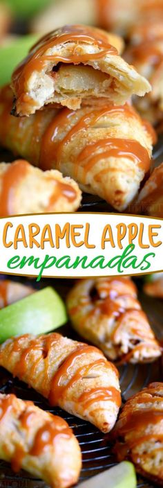Caramel Apple Empanadas are the perfect way to get in a quick caramel apple fix without all the fuss!  Perfect for an after-school snack or a quick dessert - these empanadas take less than 20 minutes to pull together and bake! A new favorite for sure! // Mom On Timeout #caramel #apple #fall