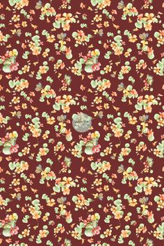 Late summer to autumn nasturtium and butterfly flower pattern. Red, red brown, brown, fall colors.