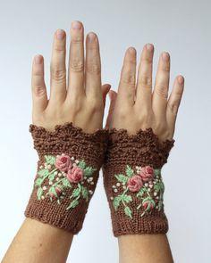 Gestrickt, Fingerlose Handschuhe, Rosen, Brown, Bekleidung und Zubehör, Handschuhe & Fäustlinge, Geschenk-Ideen für sie,