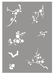 Japanese Larch and Blossom branches Stencil Larch Stencil