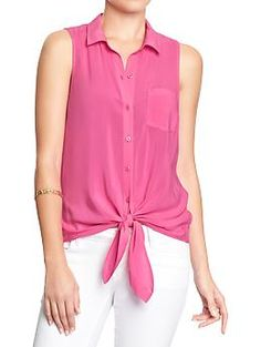 Perfect with my black maxi skirt!  Womens Tie-Front Sleeveless Shirts