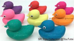 Learn Colors Glitter Play Doh Ducks with Sports Theme Cookie Cutters Fun...