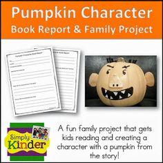 Freebielicious: Pumpkin Character Book Reports!