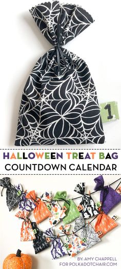 Learn how to make easy halloween treat bags from fabric using our free sewing tutorial. These look so cute hung up and used as a Halloween countdown calendar! Diy Halloween Treats, Fun Halloween Crafts, Halloween Quilts, Halloween Fabric, Easy Halloween, Sewing Patterns Free, Free Sewing, Sewing Tutorials, Sewing Projects