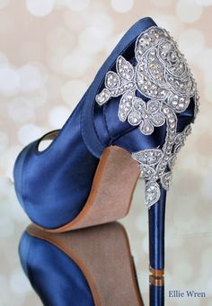 b8eefe03e8 Make your wedding dress jealous with these stunning navy blue crystal heel  wedding shoes, featuring