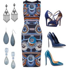 Blue Options by cheryl-williams-286 on Polyvore featuring Peter Pilotto, Casadei, Christian Louboutin, Steve Madden, House of Harlow 1960, Kenneth Cole and Anne Klein