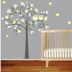 White Swirl Tree with Yellow Daisy Flowers Birds by wallartdesign, $120.00. I want this for baby girl's room.