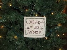 Primitive Handmade Ornament Hanger I Believe in Santa Country Christmas - pinned by pin4etsy.com