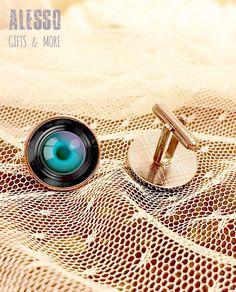 CAMERA eye CUFFLINKS. Photography LENS silver by AlessoShop