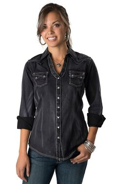 Rock 47™ by Wrangler® Women's Black with Purple and Silver Embroidery Long Sleeve Y-Neck Western Shirt
