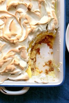 NYT Cooking: This is an old-school banana pudding down to its bed of Nilla wafers, topped with a quilt of meringue, above a pudding that owes some hold to cornstarch. It is not in any way fancy, though the meringue has its moments. The peaks may weep a little, if you let the dessert sit for a while to draw admiring glances from your guests, but no matter. It's fantastic inside, where it counts.