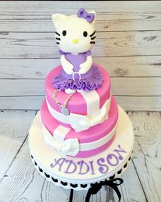 Pink and purple Hello Kitty Cake, by Amy Hart
