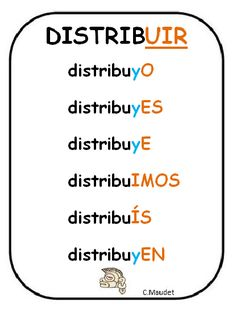 Spanish verbs - Present tense of DISTRIBUIR = to distribute, to hand out, to give out