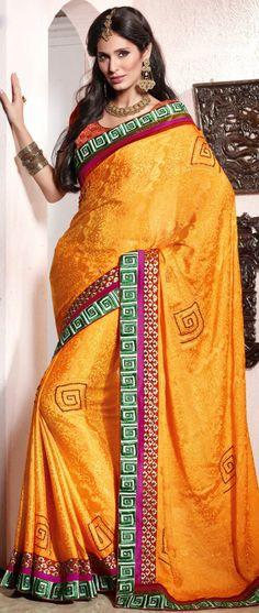 #Mustard Viscose #Jacquard #Saree With Blouse