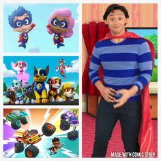 Super Adventure, Blues Clues, Nick Jr, Bubble Guppies, Guppy, Paw Patrol, Comic Strips, Baby Blue, Squad