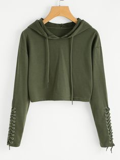 Sweatshirts by BORNTOWEAR. Grommet Lace Up Sleeve Crop Hoodie