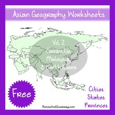 Kids can learn more about 3 different Asian countries - Cambodia, Malaysia and North Korea - with this Free Geography printable pack. :: www.thriftyhomeschoolers.com