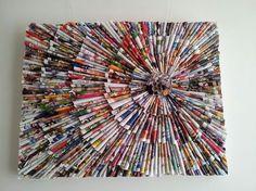 Schilderij gemaakt met pijltjes van tijdschriften.