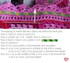 Crochet edging for granny square blankets. Lots of work, but lots of admiring looks I reckon Kleine verandering: the last row I crocheted 3 dc-ch 3 dc instead of the given in the pattern Crochet Trim, Love Crochet, Crochet Granny, Crochet Motif, Beautiful Crochet, Crochet Crafts, Crochet Yarn, Crochet Projects, Crochet Tutorials