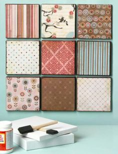 Easy art! Glue scrap booking paper to wood squares!