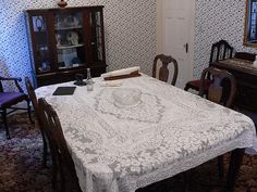 Dining Room Inside Lizzie Borden's House. Back in the day, autopsies were performed in the house, on the table.