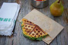 Easy Cheesy Flatbread Panini done in a waffle iron. Recipe on Mom's Kitchen Handbook.