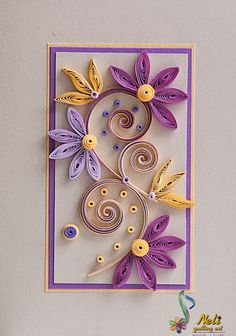 Neli is a talented quilling artist from Bulgaria. Her unique quilling cards bring joy to people around the world.♥ Lavender / Purple and Yellow Neli Quilling, Paper Quilling Flowers, Paper Quilling Cards, Quilling Work, Paper Quilling Patterns, Origami And Quilling, Quilling Paper Craft, Quilling Ideas, Paper Quilling Tutorial