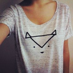 Geometric Fox Badger Cat Animal Blouse by GingyCake on Etsy, $26.00