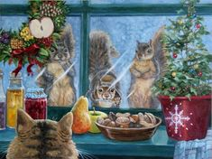"""Daily Paintworks - """"Christmas Goodies"""" - Original Fine Art for Sale - © Joy Campbell Christmas Scenes, Christmas Animals, Christmas Paper, Christmas Cats, Christmas Goodies, Christmas Greeting Cards, Christmas Humor, Christmas Greetings, Christmas Squirrel"""