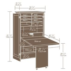 Amazon.com: Craft / Sewing Machine Cabinet Storage Armoire Organizer Drop Leaf Table - Shipping Center Paper / Cloth and more!: Home & Kitchen