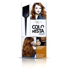 Discover Colorista, the range of permanent & semi-permanent hair dye & temporary hair colour sprays by L'Oréal Paris – available in pastel & bright shades. Copper Hair Dye, Copper Blonde Hair, Bronze Hair, Dyed Blonde Hair, Blonde Hair For Brunettes, Brunette To Blonde, Bright Hair Colors, Hair Dye Colors, Colorista Hair Dye