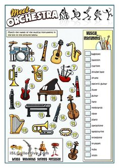 A collection of English ESL worksheets for home learning, online practice, distance learning and English classes to teach about musical, instruments, musical. Music Lessons For Kids, Music Lesson Plans, Music For Kids, Music Education Lessons, Elementary Music Lessons, Primary Lessons, Music Worksheets, Printable Worksheets, Preschool Worksheets