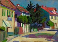 ۩۩ Painting the Town ۩۩ city, town, village house art - Gabriele Münter   Pfarrgasse, Murnau