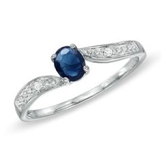 Zales: Oval Sapphire and Diamond Accent Ring in 10K White Gold