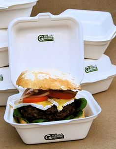 This burger box is made from the fiber left over after sugar has been extracted from sugar cane. It is compostable after use.