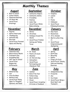 Monthly Themes Monthly Themes Monthly themes, holidays, and social skills<br> Chart detailing monthly themes including holidays, seasons, and social skills. Helpful to plan activities for the entire school year. Appropriate for multiple age levels. Daycare Lesson Plans, Lesson Plans For Toddlers, Daycare Curriculum, Homeschool Kindergarten, Pre K Curriculum, Homeschooling, Pre K Lesson Plans, Curriculum Planning, Lesson Planning
