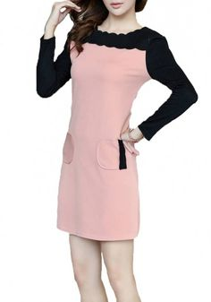 Pink Patchwork Long Sleeve Wrap Cotton Blend Dress
