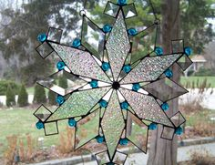 Peacock Blue Snowflake - Holiday Stained Glass Suncatcher on Etsy, $72.00