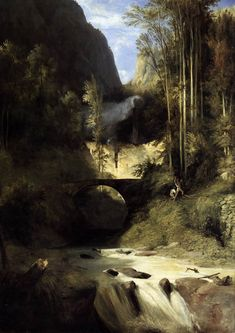 Karl Blechen - Gorge at Amalfi (1831). What are those guys doing? And is that a yeti in the middle distance?