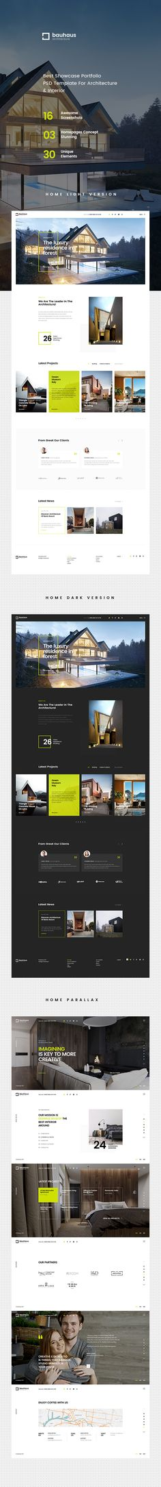 Bauhaus is evaluated an unique & trendy PSD #theme for #architecture & interior #design company website with 3 homepage layout and 16 organized PSD pages download now➩ https://themeforest.net/item/bauhaus-architecture-interior-psd-template/19480070?ref=Datasata