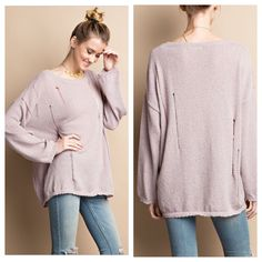 Arrives Thursday~  SUPER FUN, CASUAL, AND COMFY LONG SLEEVE DISTRESSED SOFT KNITTED LIGHT WEIGHT SWEATER TOP IN DUSTY ROSE (COULD BE WORN ONE SIDE OFF SHOULDER)  •  •  Comes in sizes small, med, and large. Pair this with our Olive stone washed Moto Jeggings for a chic look! Get yours for only $38 thru Thursday! •  •  comment or DM with size and email SPELLED out for secure PayPal invoice. •  •  •  •  #sweaterweather #distressedsweater #sweater #slouchysweater #fashion #fashiontrend…
